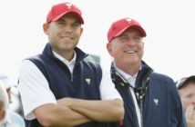 Captain Jay Haas of the United States Team watches the play alongside his son Bill on the eighth tee during the Saturday foursomes matches at The Presidents Cup at Jack Nicklaus Golf Club Korea on October 10, 2015 in Songdo IBD, Incheon City, South Korea.  (Photo by Chung Sung-Jun/Getty Images)